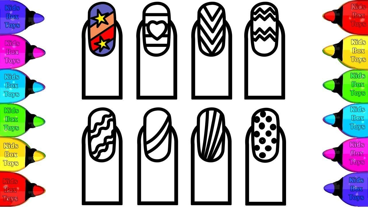 Glitter Nail Art Drawing And Coloring Pages For Kids Halaman Mewarnai Coloring Pages For Kids Coloring Pages Glitter Nail Art