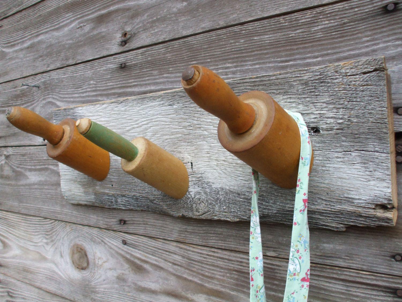 Vintage Rolling Pin Hook Rack Apron Holder Kitchen Towel Rack Coat Rack By Mountainmistpeddlar On Etsy Hook Rack Kitchen Towel Rack Rolling Pin