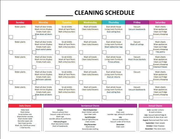 Monthly Cleaning Schedule  Blank  Stuff    Monthly