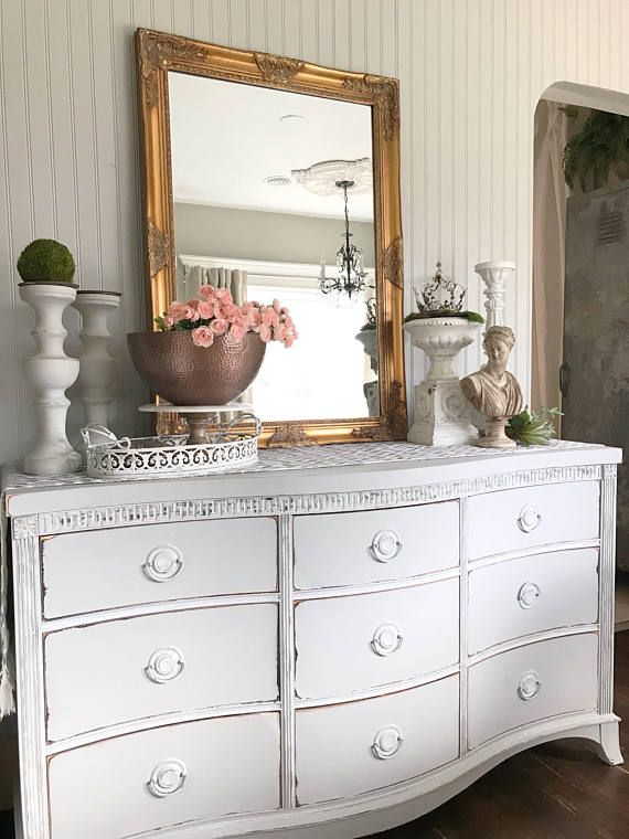 French Gray Shabby Chic Dresser Wood Chalk Painted Tv Stand Up Cycled Furniture For Chalkpaintedfurniture Paintedfurniture Graydresser