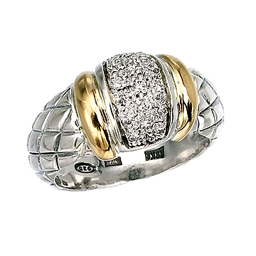 Sterling Silver w/18kt yellow gold and diamond pave stones