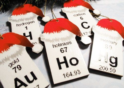 Periodic Table Christmas Ornaments Set Of 5 Elements Wooden Science Cscharms Seasonal On Artfire