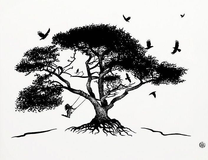 Tattoo By Matthew Amey: Tattoo Art, Rope Swing, Tree, Black White