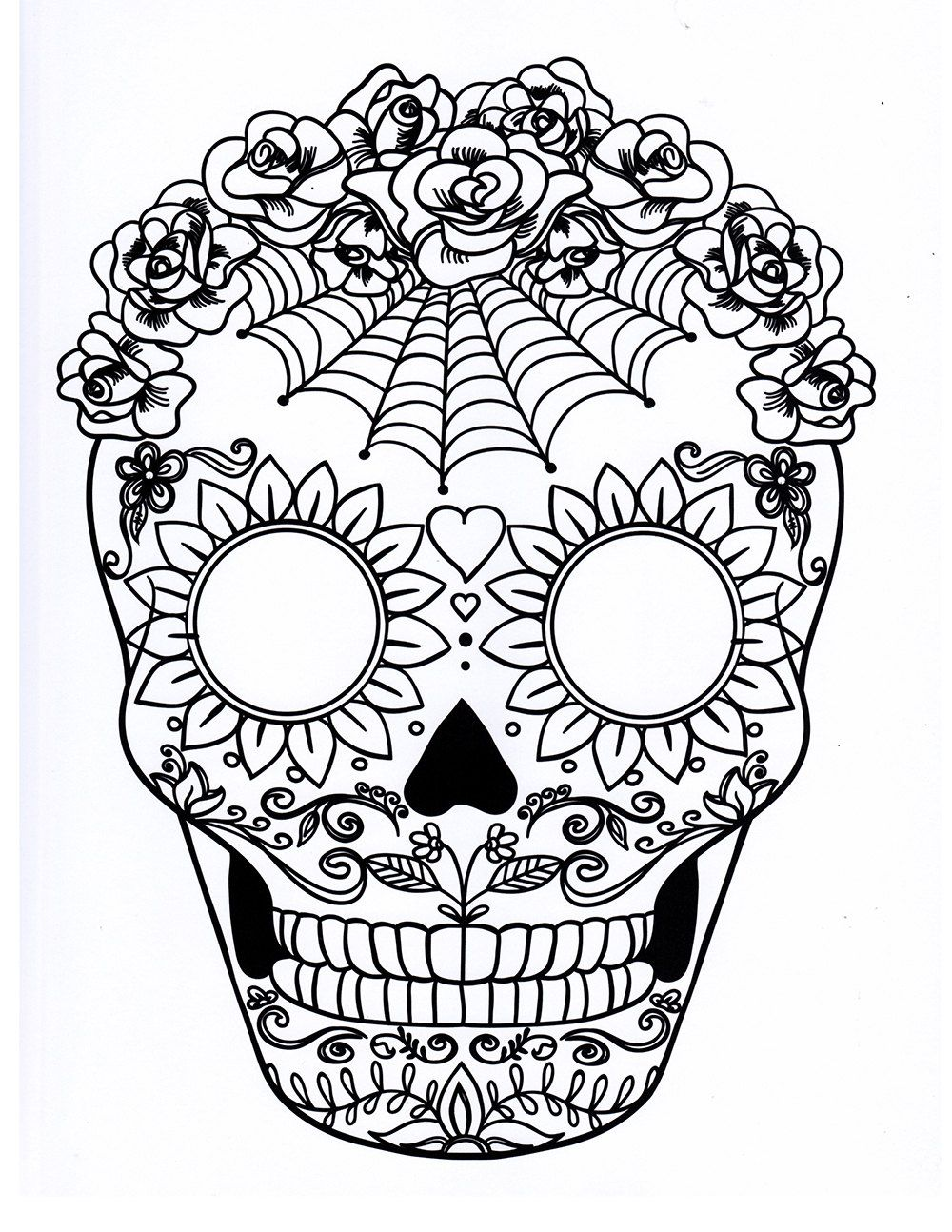 Five different sugar skull coloring pages, printable ...
