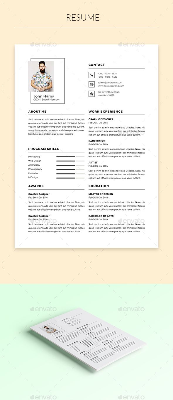 Resume Template InDesign INDD. Download here: https://graphicriver ...