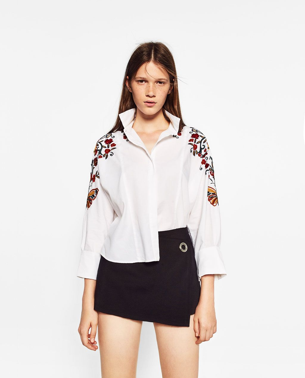 FLORAL EMBROIDERED SHIRT Shirts TOPS WOMAN | ZARA France | Мода