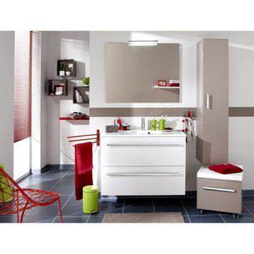 Plan de toilette Néo centré en résine, 91 cm Leroy Merlin - leroy merlin meuble salle de bain neo
