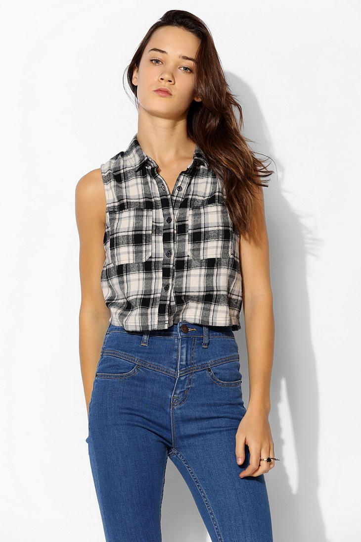 97a17bfc BDG Cropped Sleeveless Flannel Shirt - Urban Outfitters | a top.