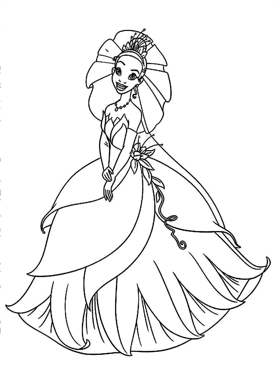Download And Print Beautiful Tiana With Wedding Dress In Disney Movie Princess And T Princess Coloring Pages Frog Coloring Pages Disney Princess Coloring Pages