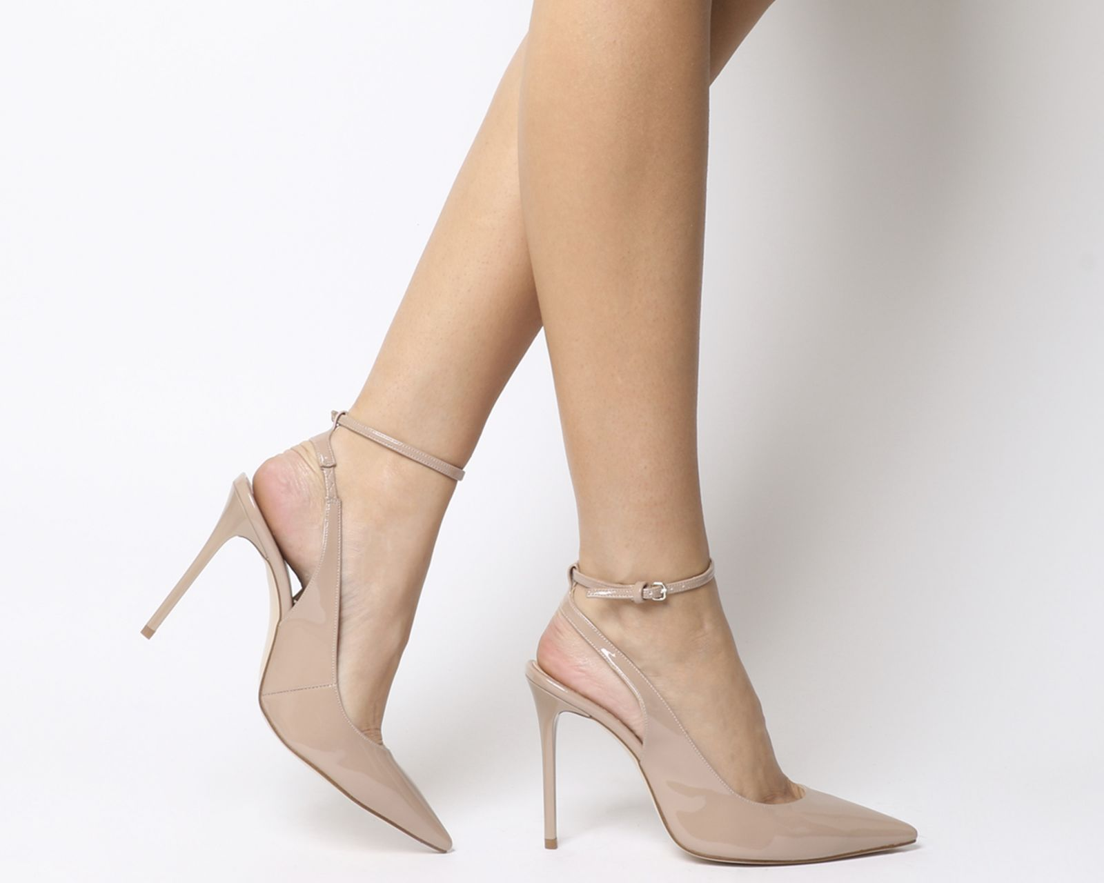Dune Carin Slingback Mid Heel Court Shoes, Nude at John