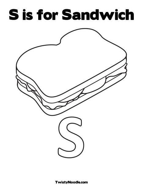 S is for sandwich coloring page from for Sandwich coloring page