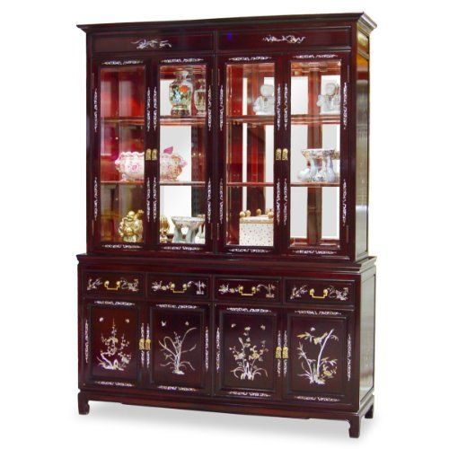 """60in Rosewood Mother of Pearl Inlay Motif China Cabinet - Cherry by ChinaFurnitureOnline. $3290.00. Hand-applied dark cherry finish. Upper: two adjustable shelves behind glass double doors, mirror back, halogen lights. Lower: four drawers and two double door compartments. Dimensions: 60""""W x 19""""D x 82""""H. A grand curio cabinet to display your treasured collectibles. Hand-inlaid mother of pearl decorate the entire cabinet. Made of solid rosewood with traditional joinery techn..."""