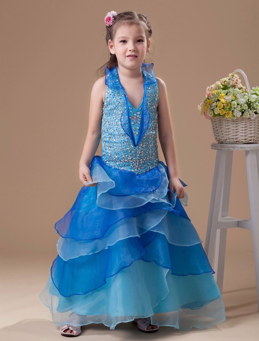 Beautiful blue organza halted girlus pageant dress girl pageant