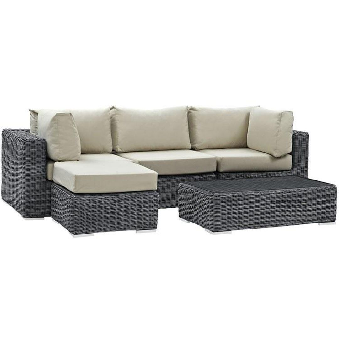 Summon Five Piece Outdoor Patio Sunbrella Sectional Set In 2020 Patio Sectional Patio Seating Sets Modway Furniture