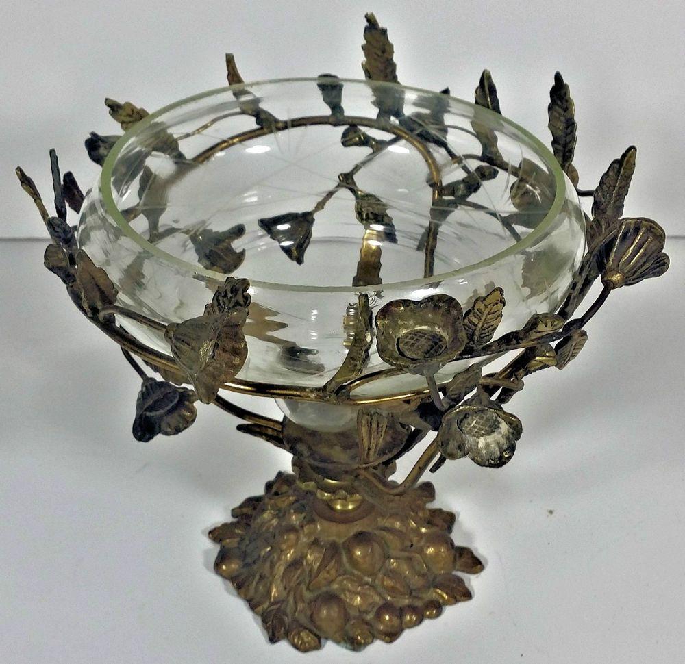 Bowl Decor Vintage Ornate Brass Rose Bowl Glass Bowl Decorative Brass Stand