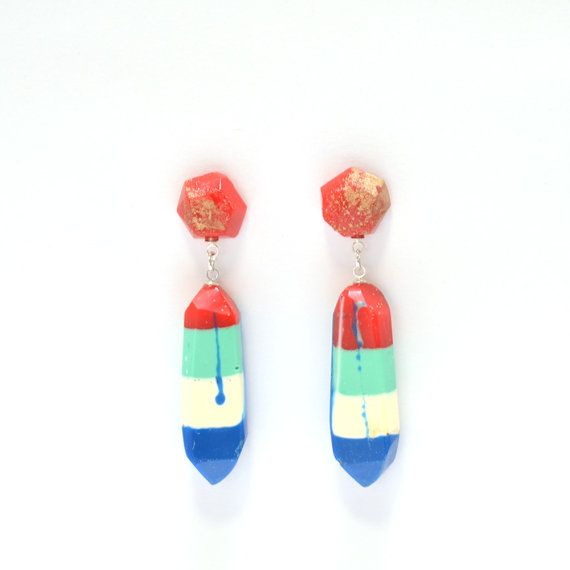 Resin Dangle Drop Glamour EarringsHandmade by FlockCurioAssembly, $35.00