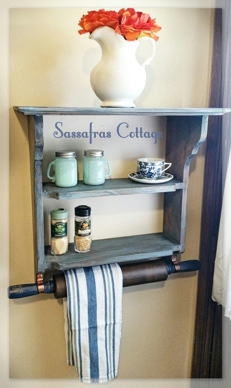 Rolling pin towel rack and shelf | Sassafras Cottage Furniture ...