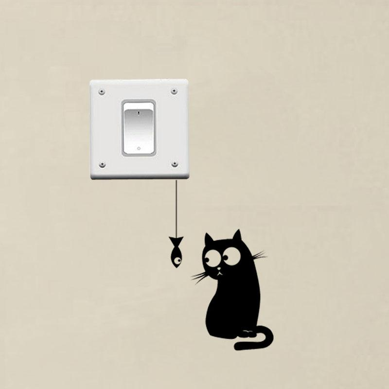 Hungry Cat Funny Switch Decor Cat Wall Sticker Decor Wall