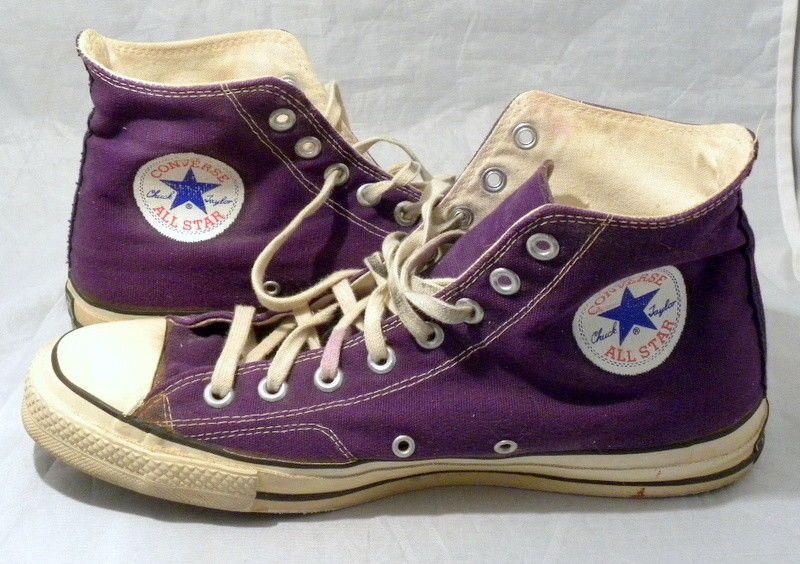 e253807ac53d Vintage Converse Chuck Taylor All Star High Top Purple Canvas Sneakers Sz 11
