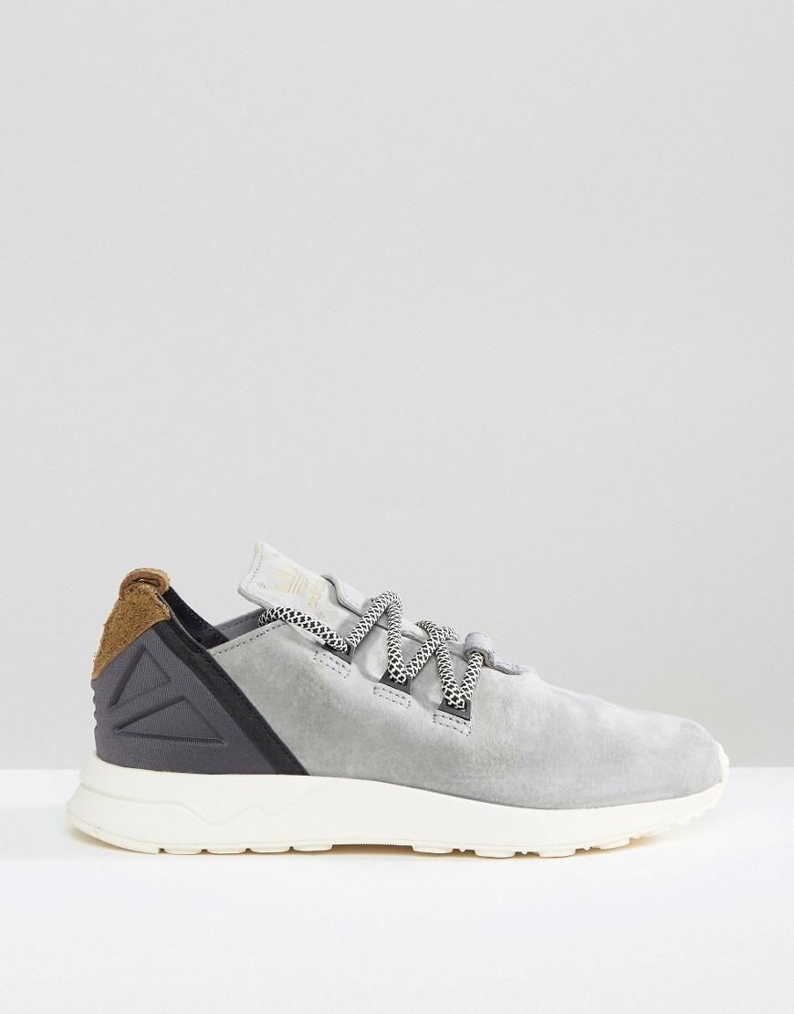 Adidas | adidas Originals Grey Suede Flux Adv Trainers at ASOS