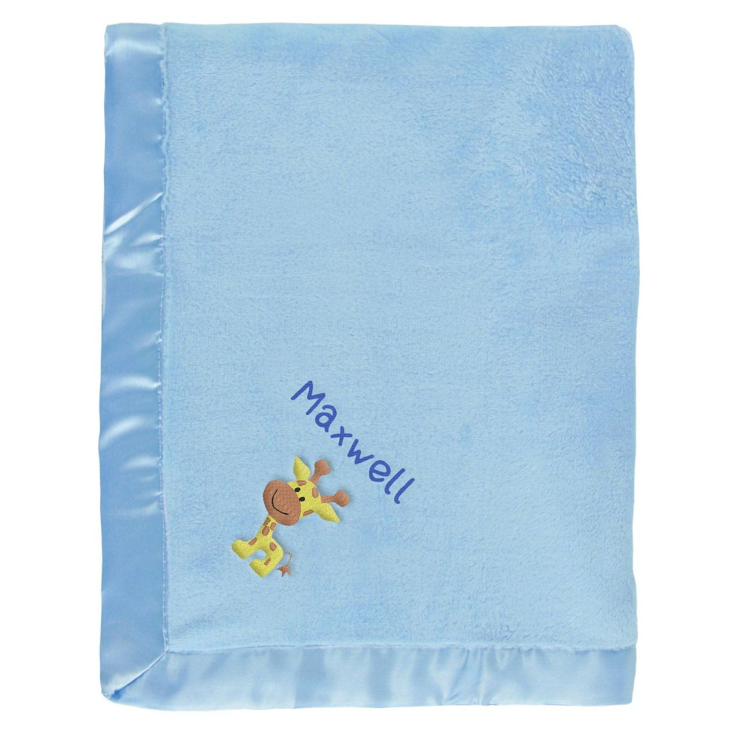 #Maxwell baby boy blanket in blue with a little Giraffe. The name Maxwell is personalized with unique embroidery in a custom design, perfect as a newborn #baby shower gift.  https://www.babyblankets.com/use/crib/blue-baby-blanket?utm_source=pinterest&utm_medium=pin&utm_campaign=boy_name