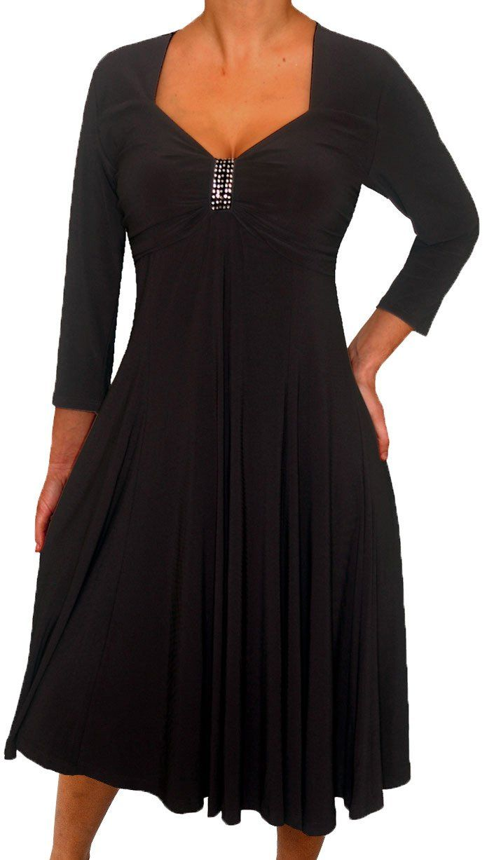 Plus size women long sleeves empire waist a line midi dress made in