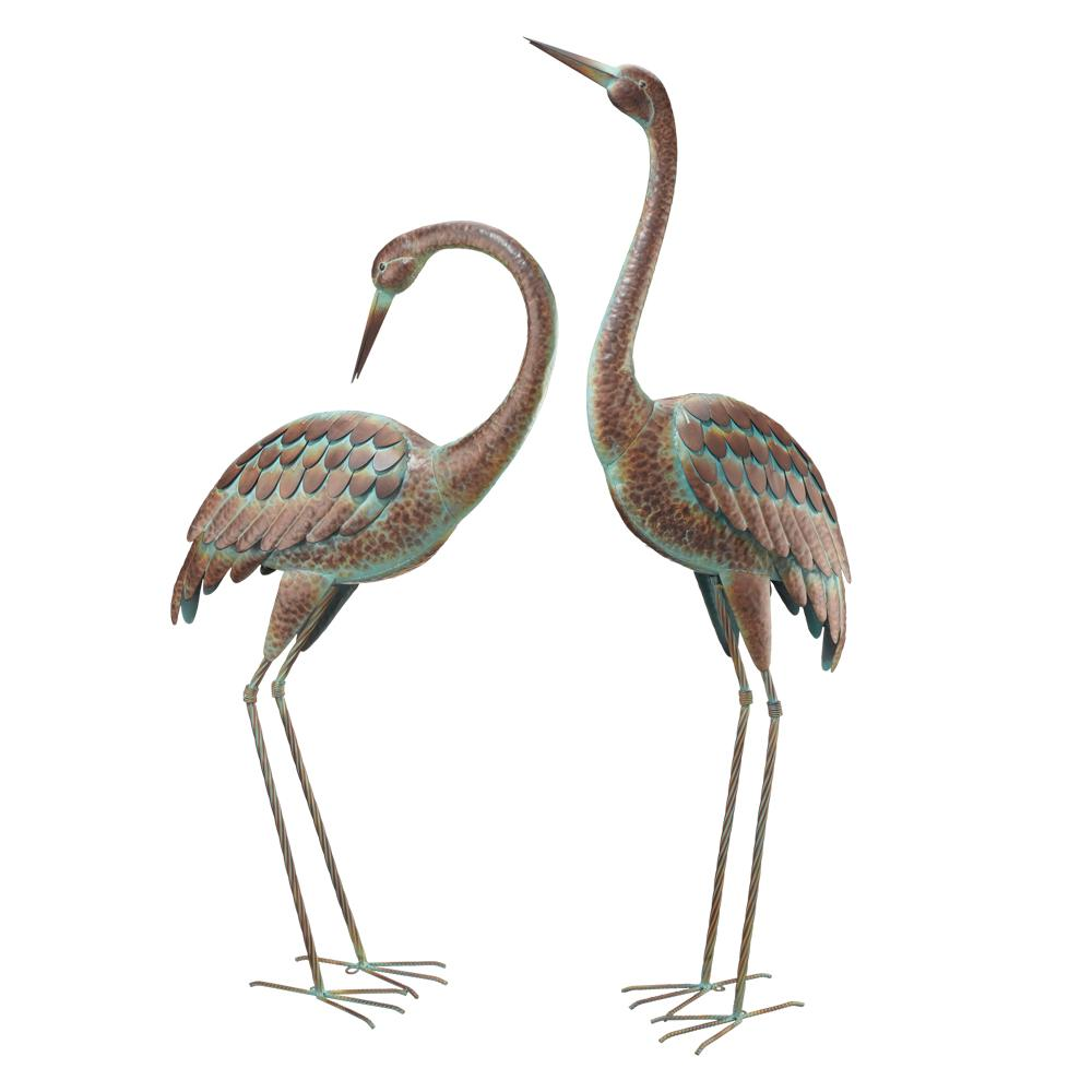 Regal Elegant Metal Garden Cranes 2 Set 51026 The Home Depot Bird Statues Metal Birds Garden Statues