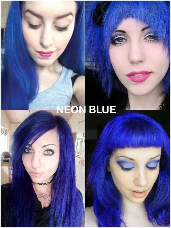 Coloring Hair Balsam Neon Blue In 2020 Gothic Hairstyles