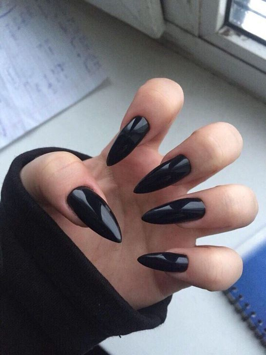 99 Adorable Pointed Nail Art Ideas That Inspiring You With Images Grunge Nails Black Coffin Nails Pointed Nails