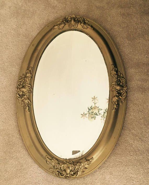 Vintage Gold Mirror Large Oval Framed Beveled Mirror Antique Gold ...