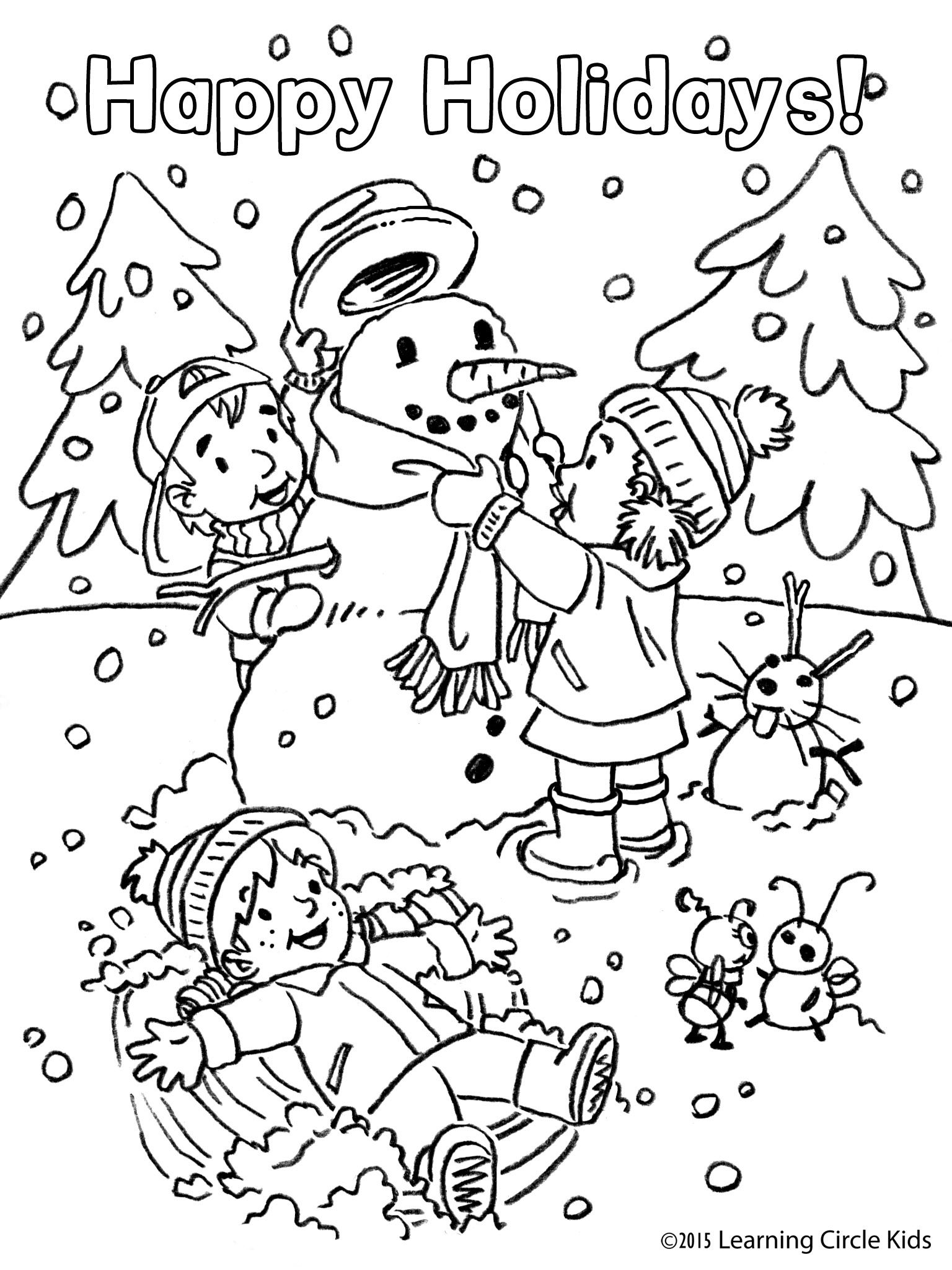 Happy Holidays Snowman Coloring Page Readerbee