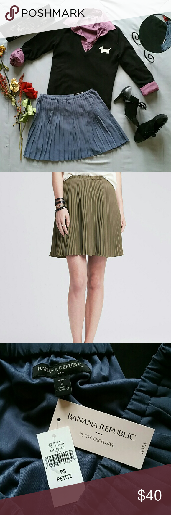 """BANANA REPUBLIC EXCLUSIVE EDITION PLEATED SKIRT *BRAND NEW WITH TAGS 2ND PHOTO IS STOCK OF SAME SKIRT IN OLIVE. I AM SELLING ONLY THE PURPLE ONE. *J. CREW SWEATER, BR BUTTON DOWN, & TAHARI BOOTIES ALL SOLD SEPARATELY!  BUNDLE & SAVE! *SHELL & LINING 100% POLYESTER  *WAIST APPROX 28"""" LYING FLAT *LENGTH APPRIX 15.5"""" *PRICE IS FIRM FOR NOW UNLESS BUNDLED *STORED IN NON-SMOKING PET FREE HOME Banana Republic Skirts Mini"""