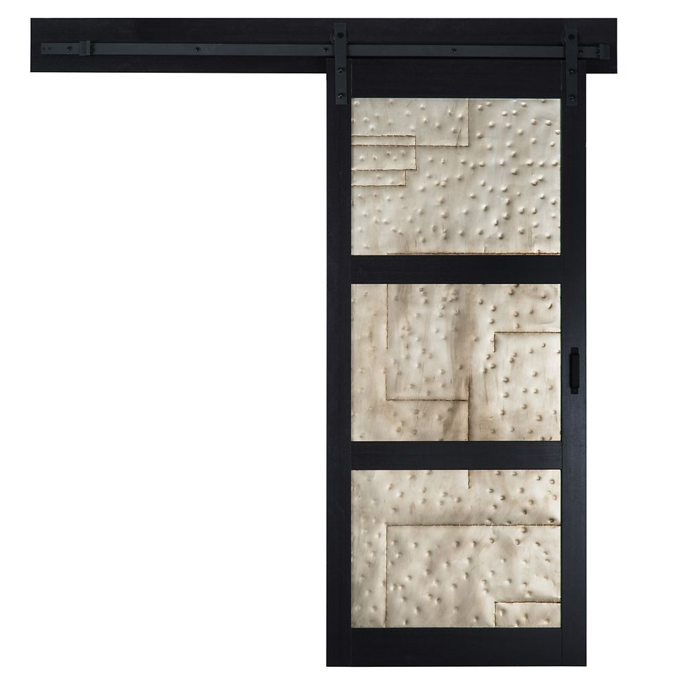 36 Inch X 84 Inch Black 3 Lite Metal Rustic Barn Door With Modern Sliding Door Hardware Kit Interior Sliding Barn Doors Barn Door Interior Barn Doors