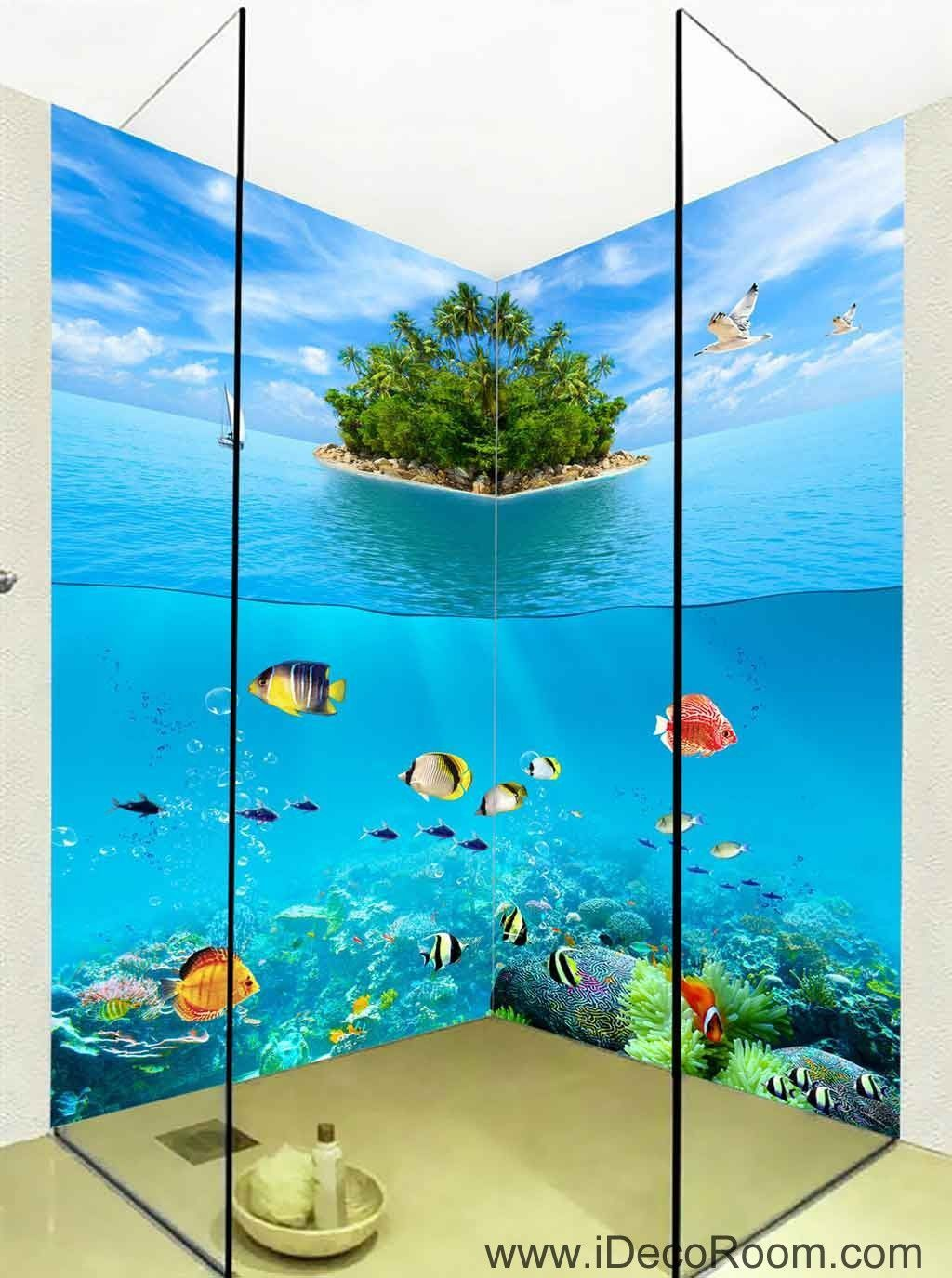 Wallpaper Undersea Fish Island Wall Murals Bathroom Decals Art Print Home Office Decor