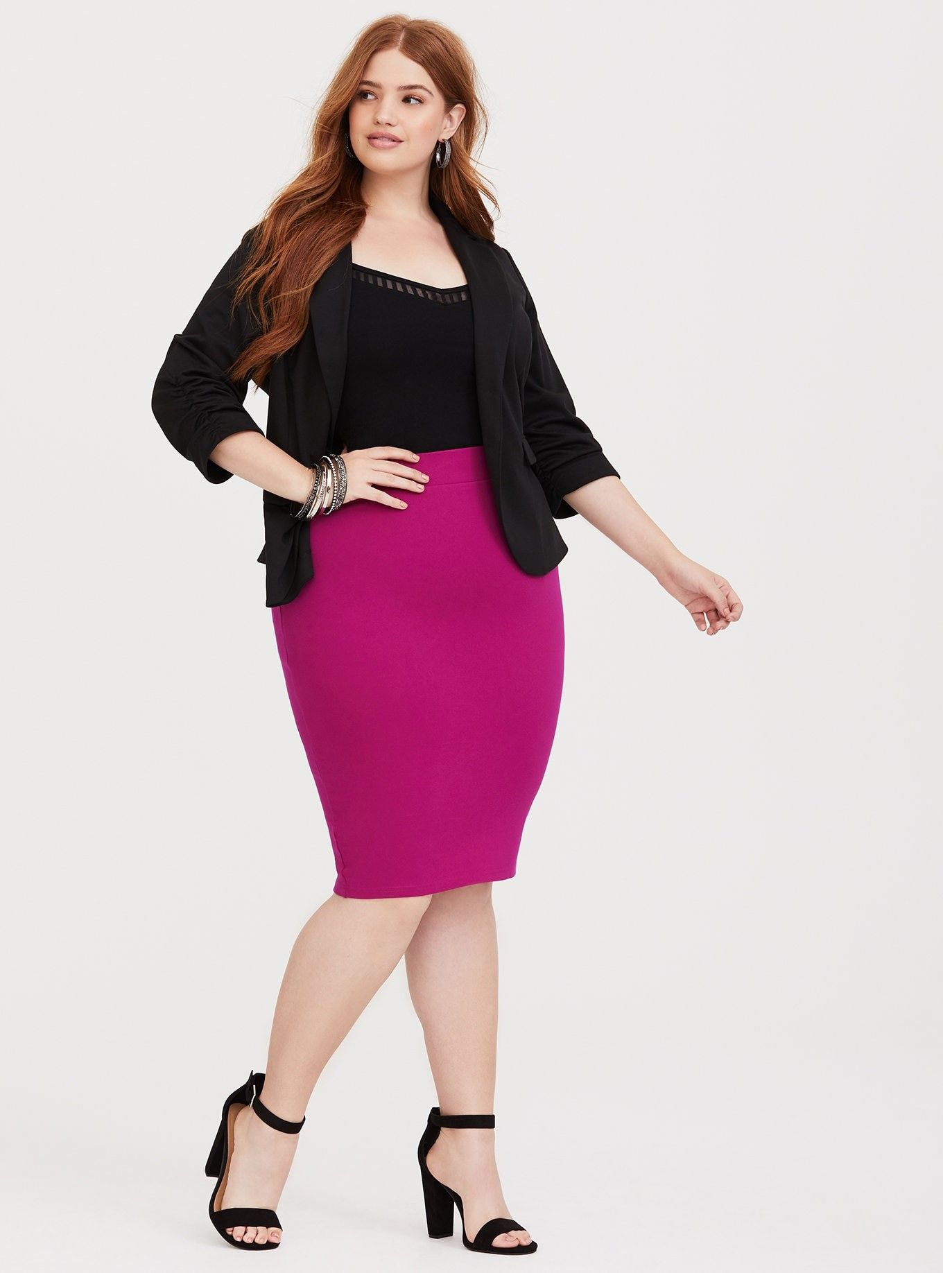 e1148680d9 Berry Pink Ponte Pencil Skirt - Thick ponte knit fabric stretches the way  you need while smoothing you out and maintaining its shape.