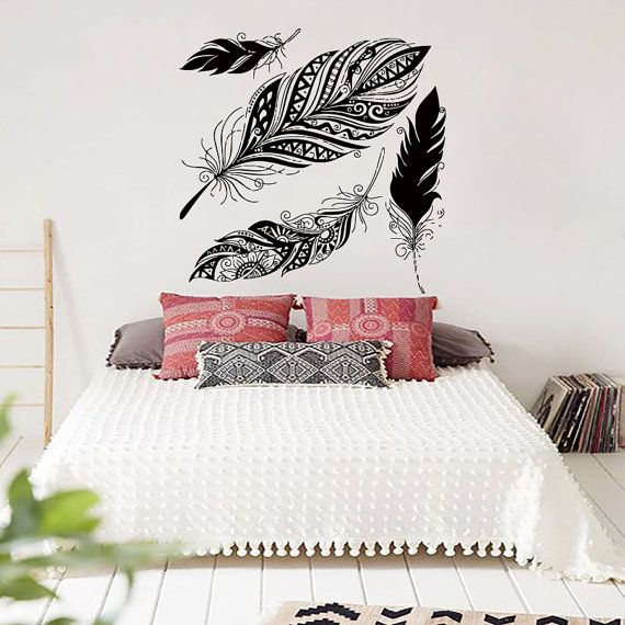 Dream Wall Decals Catcher Vinyl Decal Feather Sticker Boho Dreamcatcher For  Bedroom Nursery Bohemian Bedding Hippie