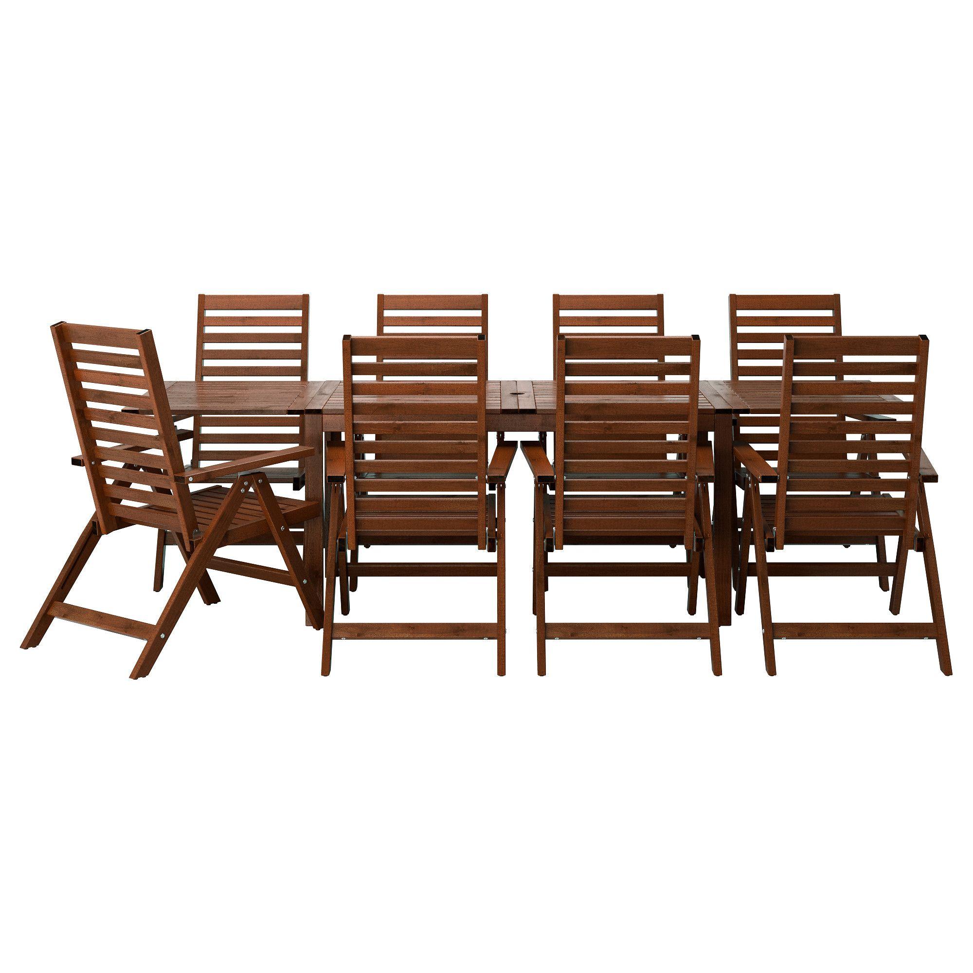 ÄPPLARÖ, Tisch+8 Hochlehner/außen, braun las., Jetzt bestellen ...