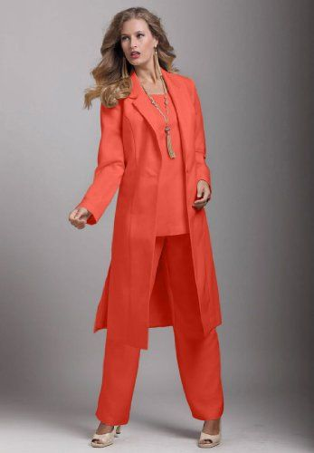 978715a44420 Roamans Plus Size Three-Piece Duster Pant Suit