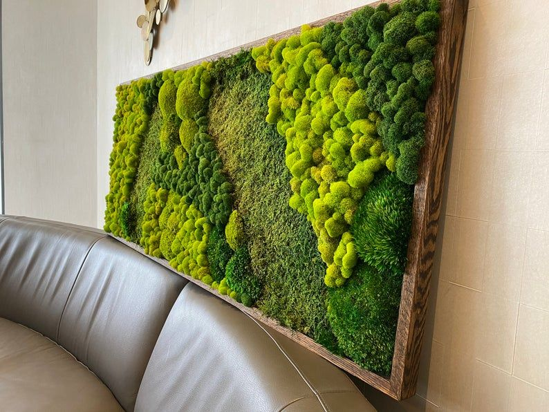 Moss Wall Art Large Moss Frame Green Wall Art Wall Decor Preserved Moss Moss Wall Art Moss Wall Green Wall