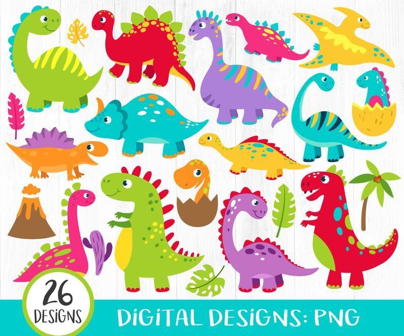 26 Dinosaur Clipart Cute Dinos Clipart Scrapbook Printable Etsy In 2020 Clip Art Etsy Printables Digital Clip Art