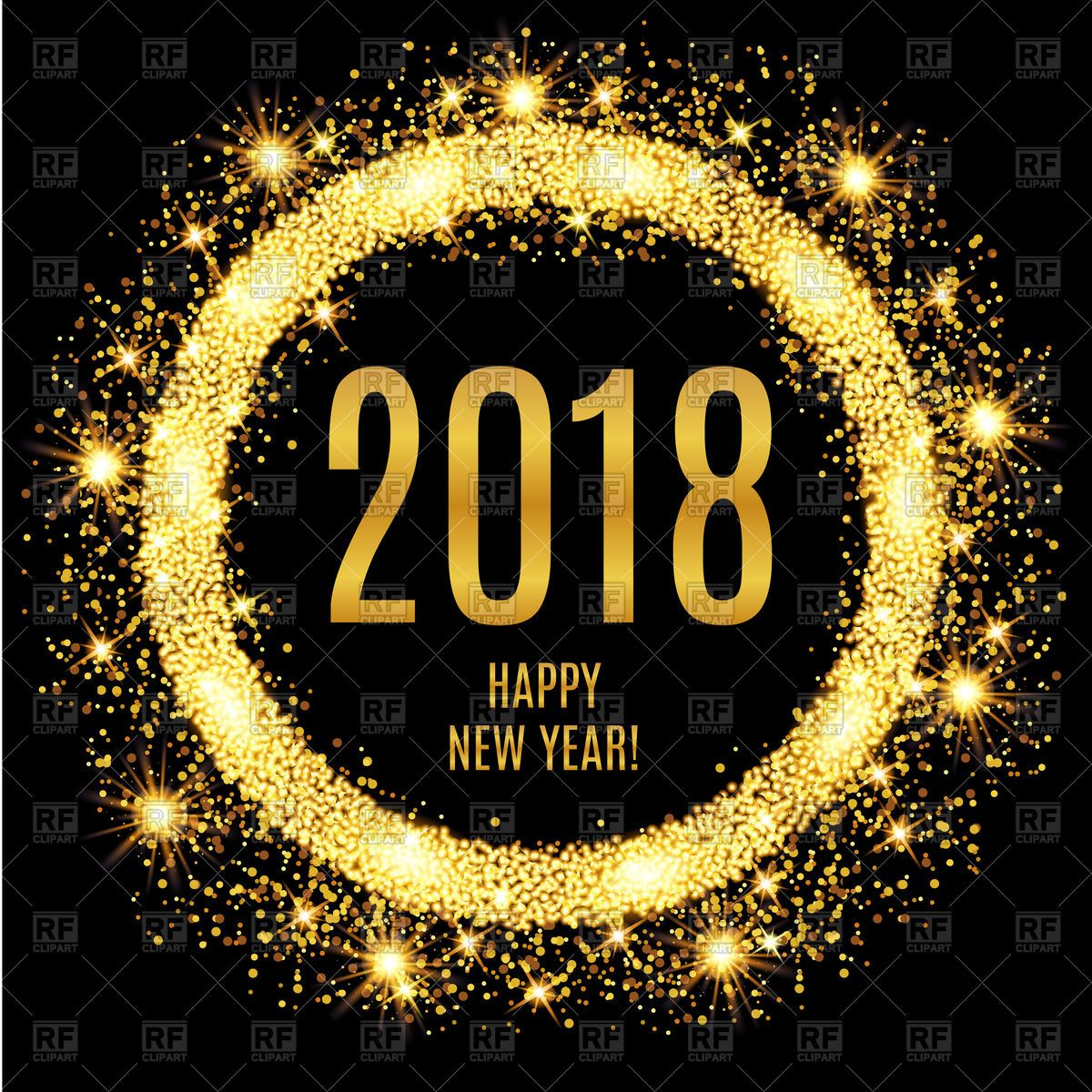 Vector image of 2018 Happy New Year glowing gold