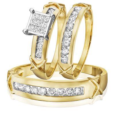 1 Carat Diamond Trio Wedding Ring Set 14k Yellow Gold Wedding Ring Trio Sets Wedding Ring Sets Best Engagement Rings