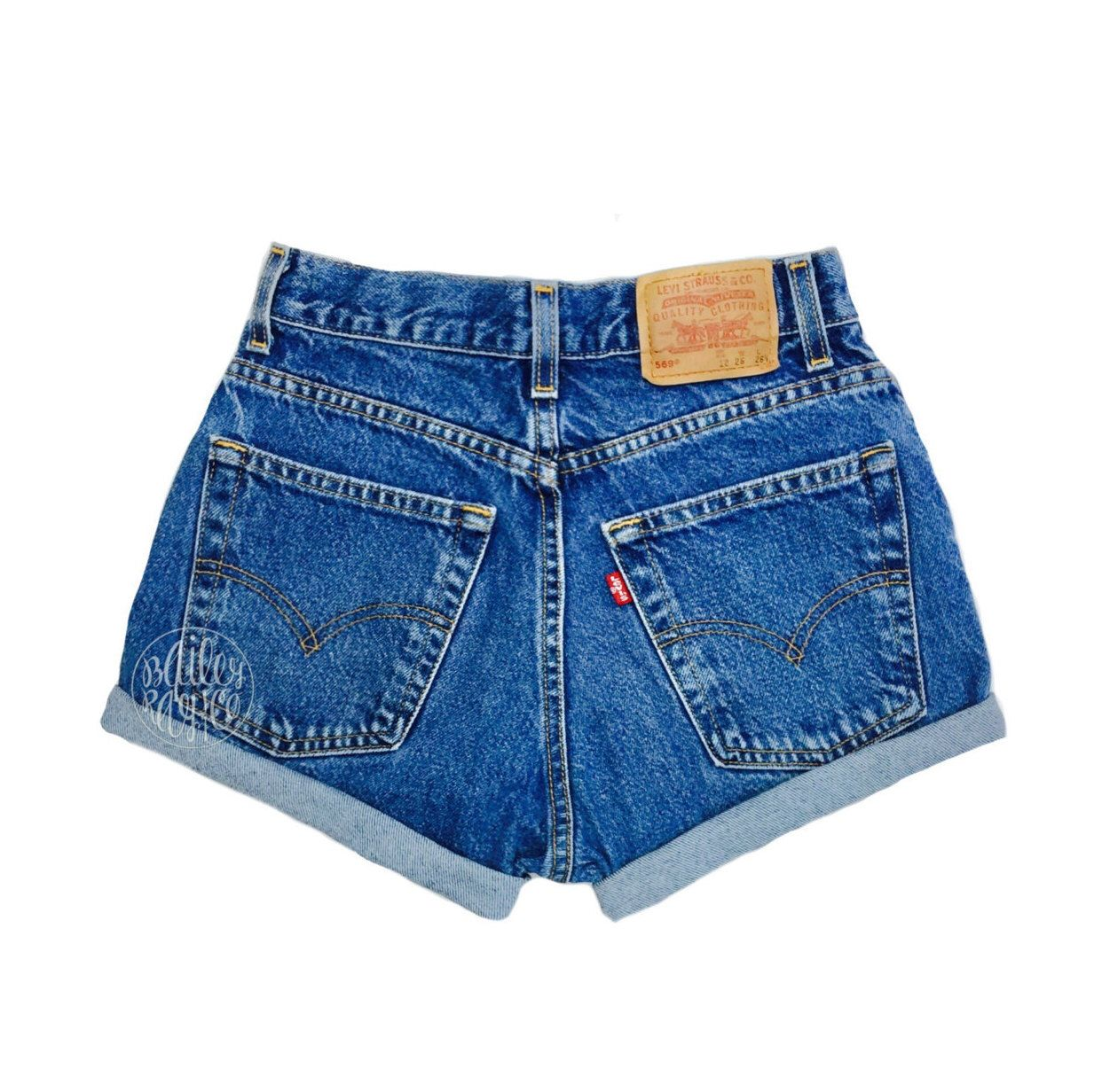 7e248cf710 Levis High Waisted Cuffed Denim Shorts Rolled Up Denim Shorts Plain Jean  Shorts by BaileyRayandCo on