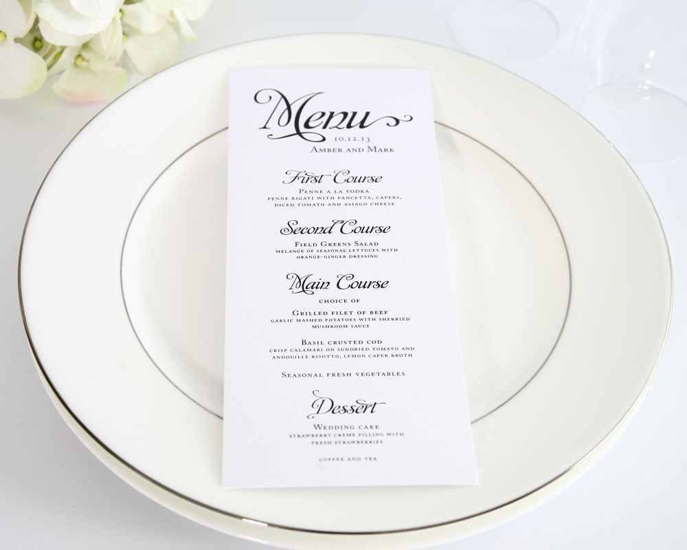 Alluring Script Wedding Menus  Wedding Menu Classic Weddings And