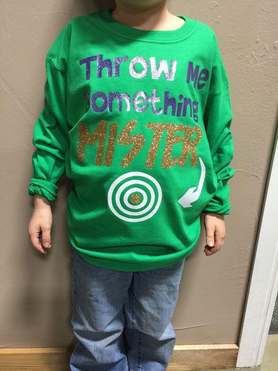 fc52c6247 Throw Me Something Mister-Bullsye-Target- Mardi Gras -Long sleeve- Youth  child shirt -Purple-Green-Gold-Regular Vinyl or Glitter