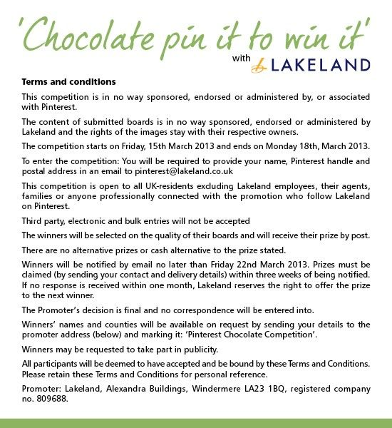 Terms and conditions - Chocolate Pin It to Win It competition
