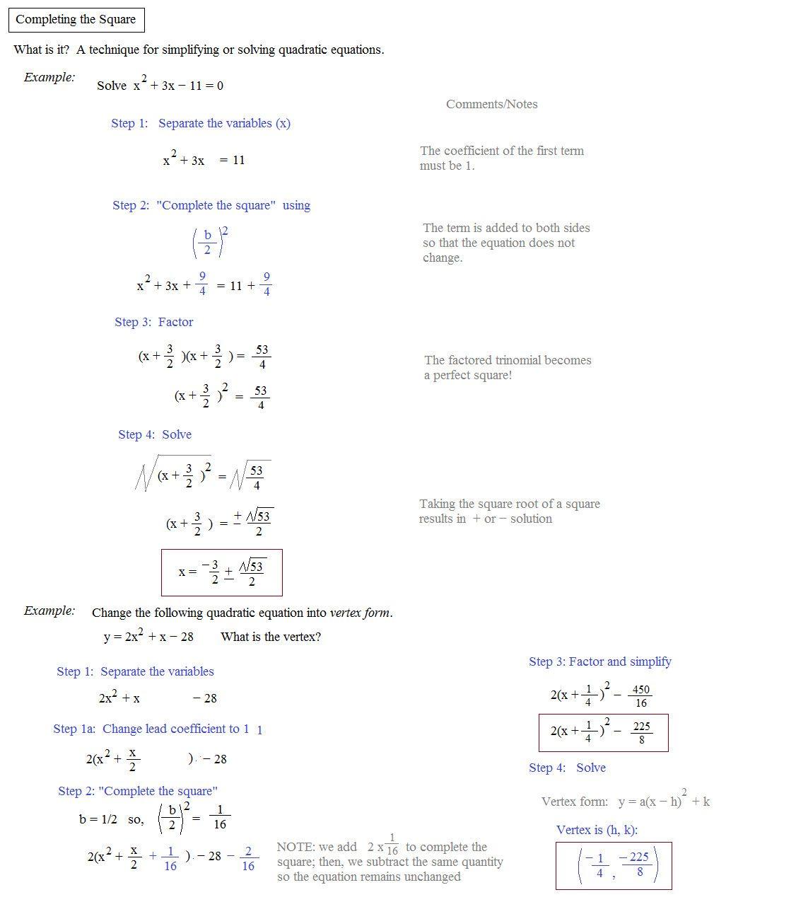 Complete The Square Worksheet In 2020 Quadratics Solving Quadratic Equations Quadratic Formula