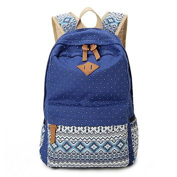 Women's Navy Blue Polka Dots Backpack for College Bookbag for Teen ...