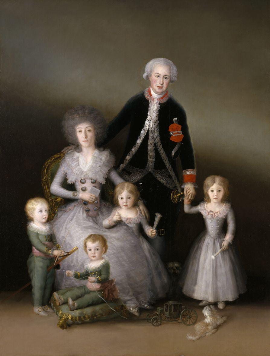 """Francisco de Goya: """"Los duques de Osuna y sus hijos"""". Oil on canvas, 225 x 174 cm, 1788. Museo Nacional del Prado, Madrid, Spain"""