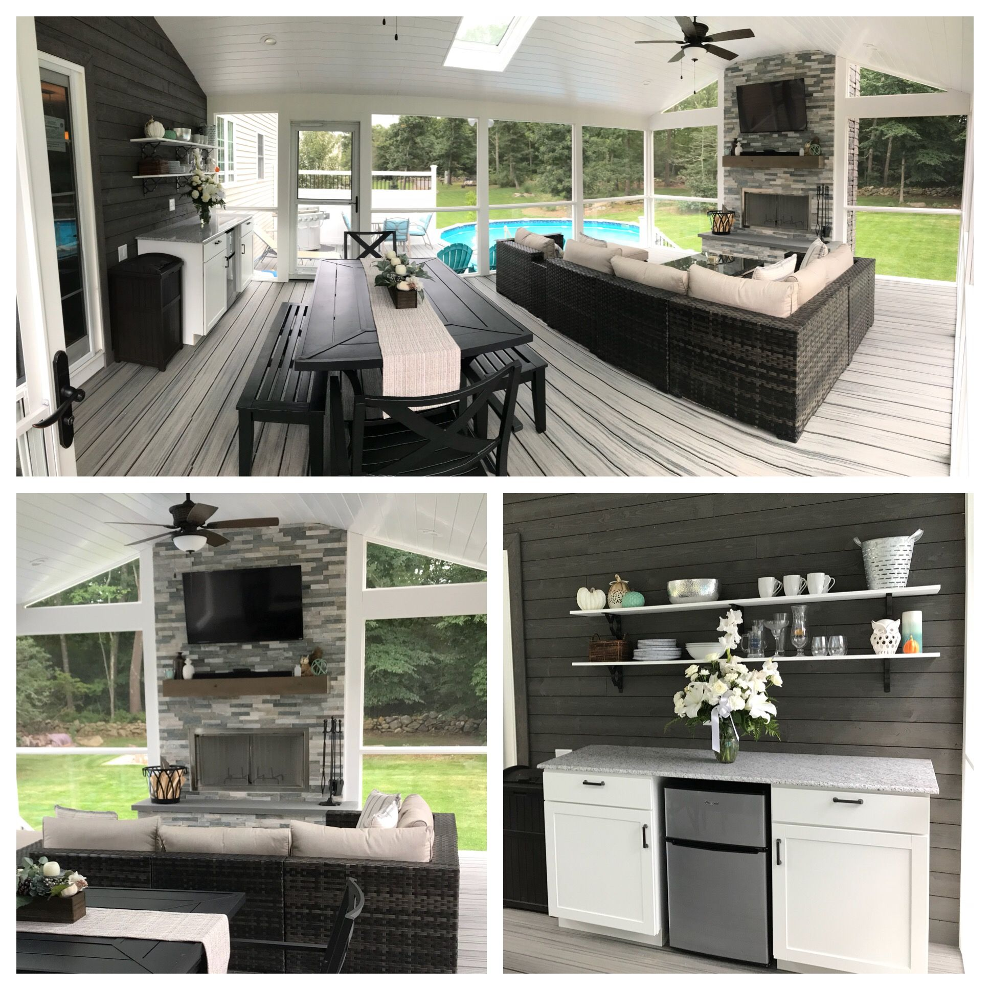 Our New Screened In Deck Trex Island Mist Floors Villawood Wood Burning Outdoor Fireplace Azek Tri Deck Ideas Home Depot Outdoor Fireplace Screened In Deck